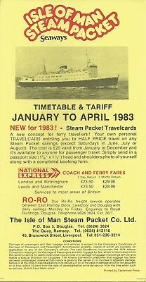 Isle of Man Steam Packet Co Ltd -1983 Timetable & Tariff - January to April 1983