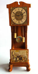 Dollhouse Wood Grandfather Clock with Pendulum 7