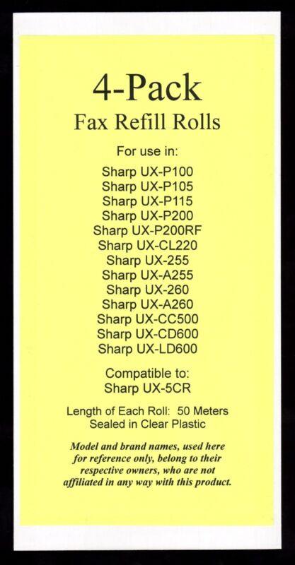 4-pack of UX-5CR Fax Refills for Sharp UX-P100 UX-P105 UX-P115 UX-P200 UX-P200RF