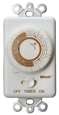 Woods 59745WD In-Wall 24-Hour Mechanical Timer That Converts A Wall Light Switch
