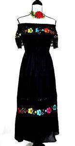 HAND Embroidered Crochet BLACK Mexican DRESS Floral PEASANT Cotton Vtg Plus Sz
