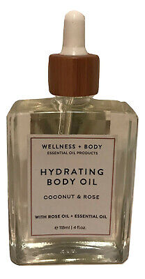 Wellness + Body Coconut & Rose Relaxing Hydrating Body Oil, 4 Fluid Ounce Hydrating Body Fluid
