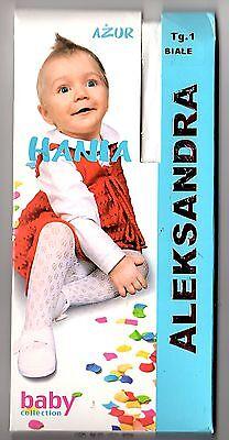 Süße festliche Baby Mädchen Muster-Strumpfhose weiß o creme Taufe Hochzeit 56-98