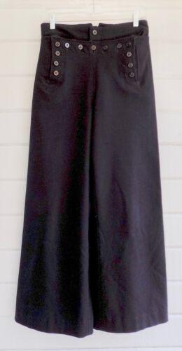 Vintage Wool NAVY SAILOR PANTS High Rise Button Front Wide Leg 100% Wool -Sz.28