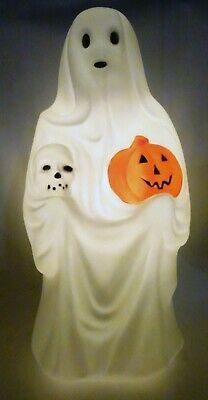 "Lighted 23"" PLASTIC Blow Mold HALLOWEEN Ghost Holding Skull & Pumpkin-Empire"