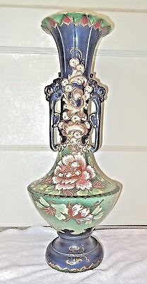 Large Vintage/Antique Handled Hand Decorated Moriage Ceramic Vase - Flowers