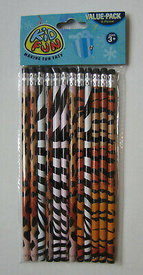 12 Wild Animal Print Pencils Safari Zoo Jungle Birthday Party Goody Bag Favor - Animal Print Pencils