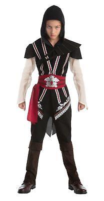 Assassins Creed Ezio Teen Kostüm mit Kapuze Tunika Halloween Kleid Up (Assassine Ezio Kostüm)
