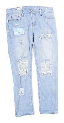 Womens Gap Blue Ripped Denim Jeans Size W32/L27