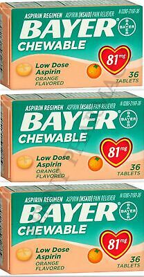Bayer Chewable 'Baby' Aspirin 81mg Low Dose ORANGE 36 Tablets (3 pack) Box issue for sale  Orlando