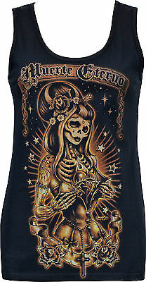 WOMENS DAY OF THE DEAD TANK TOP MUERTE ETERNO SUGAR SKULL GOTHIC CORSET HORROR