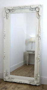 Chelsea Ornate Carved Louis French Style Floor Mirror White 72