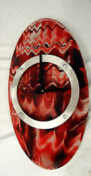 MODERN/CONTEMPORARY RED AND BLUE ACCENTS HAND PAINTED OVAL SHAPED CLOCK #158