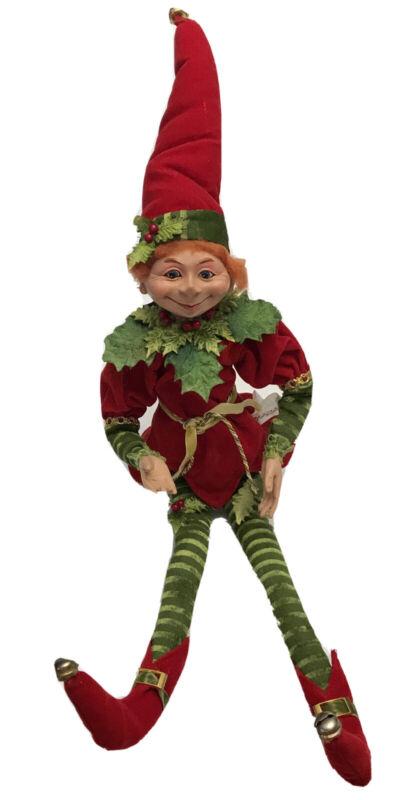 "2012 Floridus Design ~ Holly Jolly ~ Christmas Elf Hanging/Sitting, 22"", B79"
