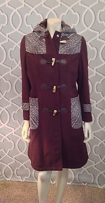 Pier Aden Brown Toggle Hooded Tweed Trim Faux Sherpa Lined Women's Coat Large Trim Hooded Toggle