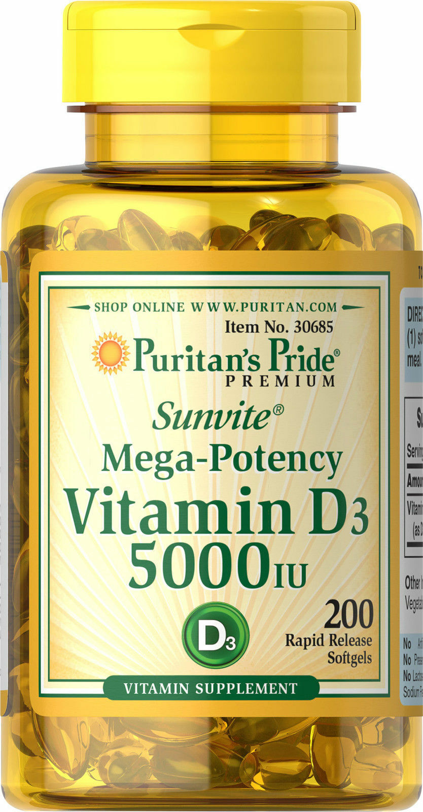 Puritan's Pride Mega-Potency Vitamin D3 5000 IU (200 Softgels)