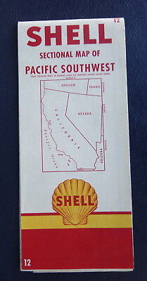 1955 California Nevada Road Map Shell Oil  Gas Pacific Southwest  12
