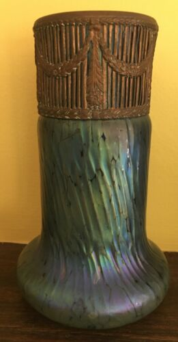 Loetz Vase Austria Copper Band Top