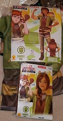 NEW Squirrel Girl Halloween Costume WITH WIG Child Medium Large Secret Warriors (Squirrel Kids Costume)