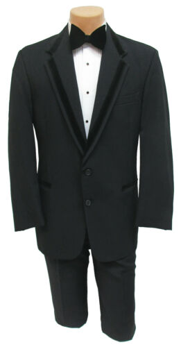 Boys 4 Perry Ellis Retro Black Tuxedo Jacket with Velvet Trim Ring Bearer 4B