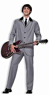 60's British Invasion Beatles 2 pc Grey Suit Adult Std Party Costume - Beatles Party Kostüm