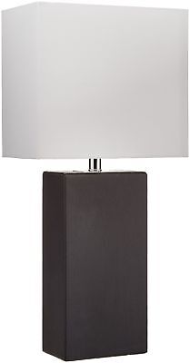 Elegant Designs LT1025-BLK Modern Genuine Leather Table Lamp, Black ()