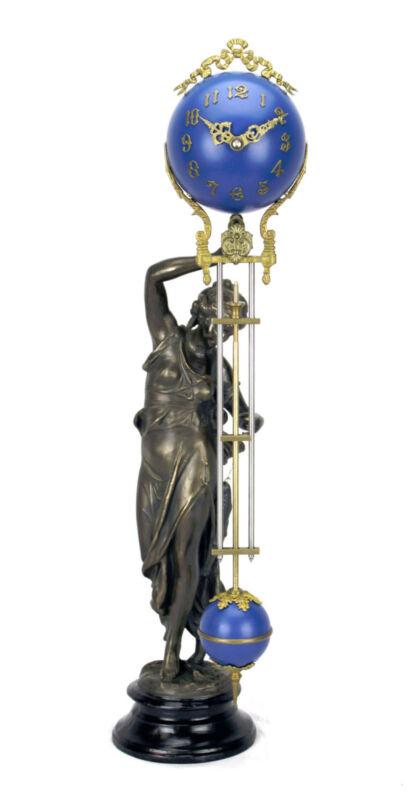 Beautiful Ansonia Cut 8 Day Movement Brass Fisher Lady Mystery Swinger Clock