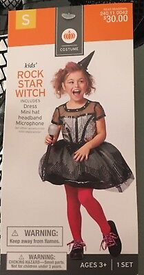 NWT Girls  Ages 3+ ROCK STAR WITCH Halloween Costume Black Silver Dress Hat - Female Rock Star Costume