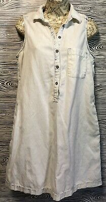 Vintage Lou & Grey WHITE DENIM Sleeveless A-line BEACH SURFER Dress +Pockets S