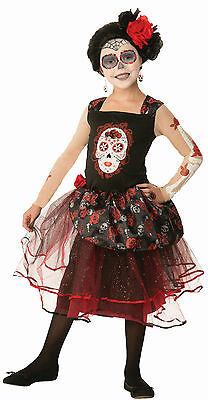 Girls Day of the Dead Rosa Senorita Child Costume Dress Size Small 4-6 - Dead Girl Halloween Costumes