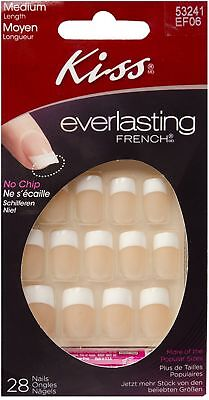 KISS Everlasting French Glue-On Nails Kit, Unlimited, Medium Length 28 ea