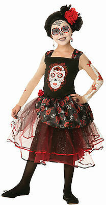 Girls Day of the Dead Rosa Senorita Child Costume Dress Size Large 12-14 - Dead Girl Halloween Costumes