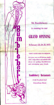 VINTAGE 1973 BUMBLEBERRY RESTAURANT GRAND OPENING WOODFIELD MALL SCHAUMBURG, (Woodfield Malls)