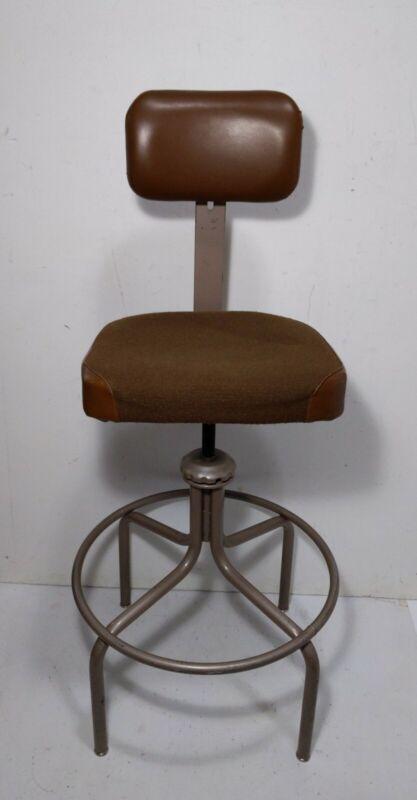 "Vintage 48"" EMECO Industrial Swivel Adjustable Drafting Chair/Stool Machinist"