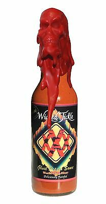 Ghost Pepper Hot Sauce World's Hottest Chipotle Wicked Tickle XXX Wax Skull Bhut