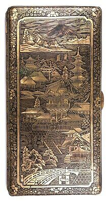 VINTAGE GILDED METAL CIGARETTE CASE WITH ASIAN MOTIF - CHINOISERIE ACCESSORY