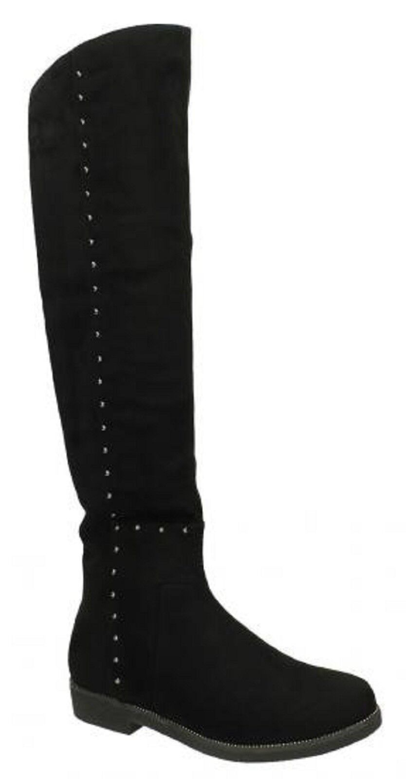 Ladies Black Microfibre Knee Length Zip Boots from Spot On F50308