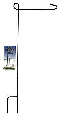 KINREX Garden Flag Pole Holder Stand - Black Metal Iron Wrou