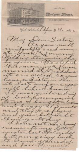 1892 Letterhead & Letter from the  Blodgett House Hotel York Nebraska
