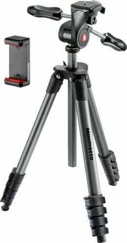 Manfrotto Compact Advanced Smart 65 Tripod With 3way Head & Smartphone Clamp