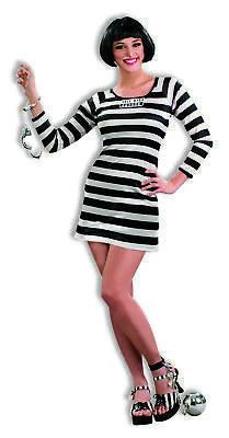 Sexy Jail Bird Prisoner Costume Dress Outfit Adult  Women Black White Plus Size