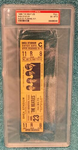 The Beatles at Shea Stadium Aug 23rd 1966 Full Ticket PSA CERTIFIED AUTHENTIC!
