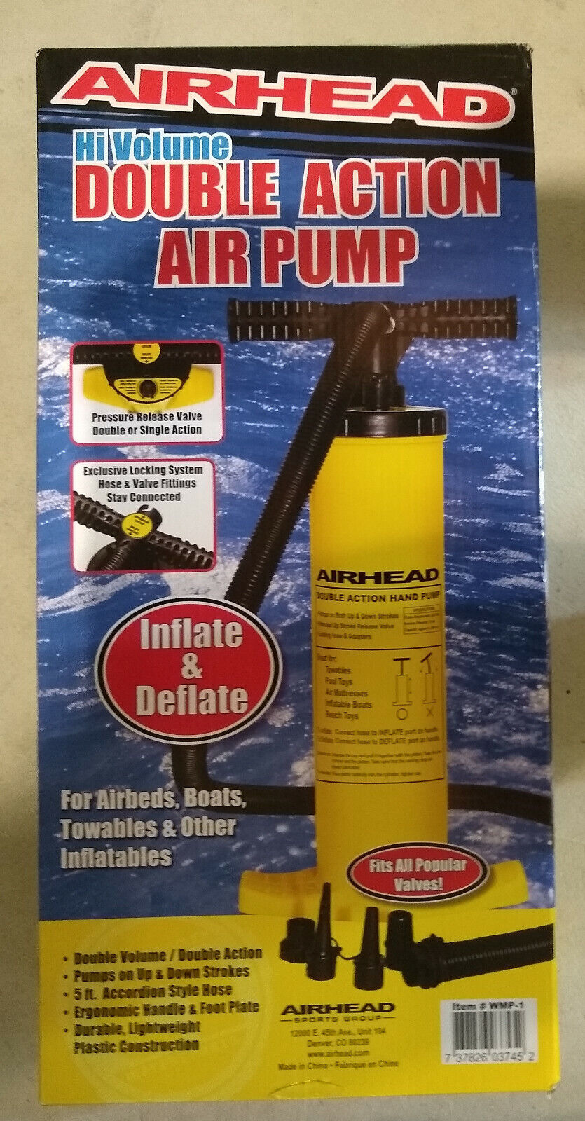 AIRHEAD - HI VOLUME DOUBLE ACTION AIR PUMP FOR AIRBEDS, BOAT