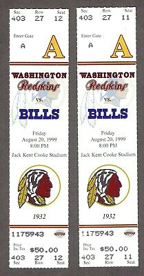 08/20/1999 Washington Redskins NFL Full Tickets x2 - Buffalo Bills
