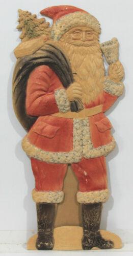 "Die Cut and Heavily Embossed German Santa Ringing a Silver Bell c1930s 15"" Tall"