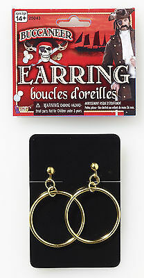 Pirate Gold Hoop Earrings Clip On Unisex Costume Accessory