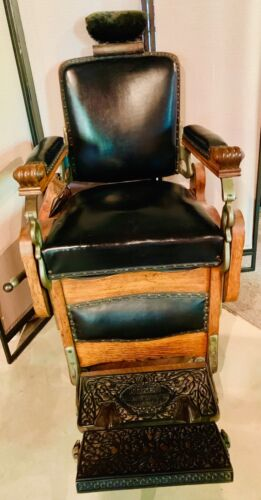 ANTIQUE OAK KOKEN BARBER CHAIR- Rare Find