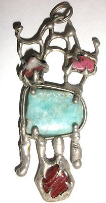 unique vintage brutalist modernist abstract large pendant jade and others stones