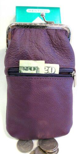 Women 100% Leather Cigarette Case Lighter Match Pocket Zipper Coin Pouch- PURPLE