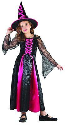 Hexen-Mädchenkostüm für Halloween schwarz-pink Cod.200872 ()